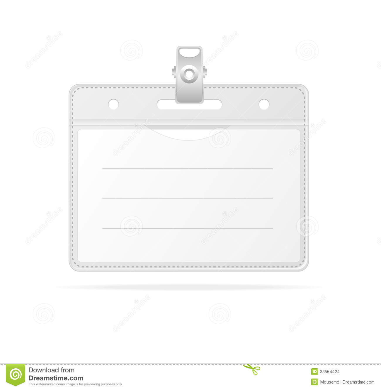 Blank ID (identification Card ) Badge Isolated Stock