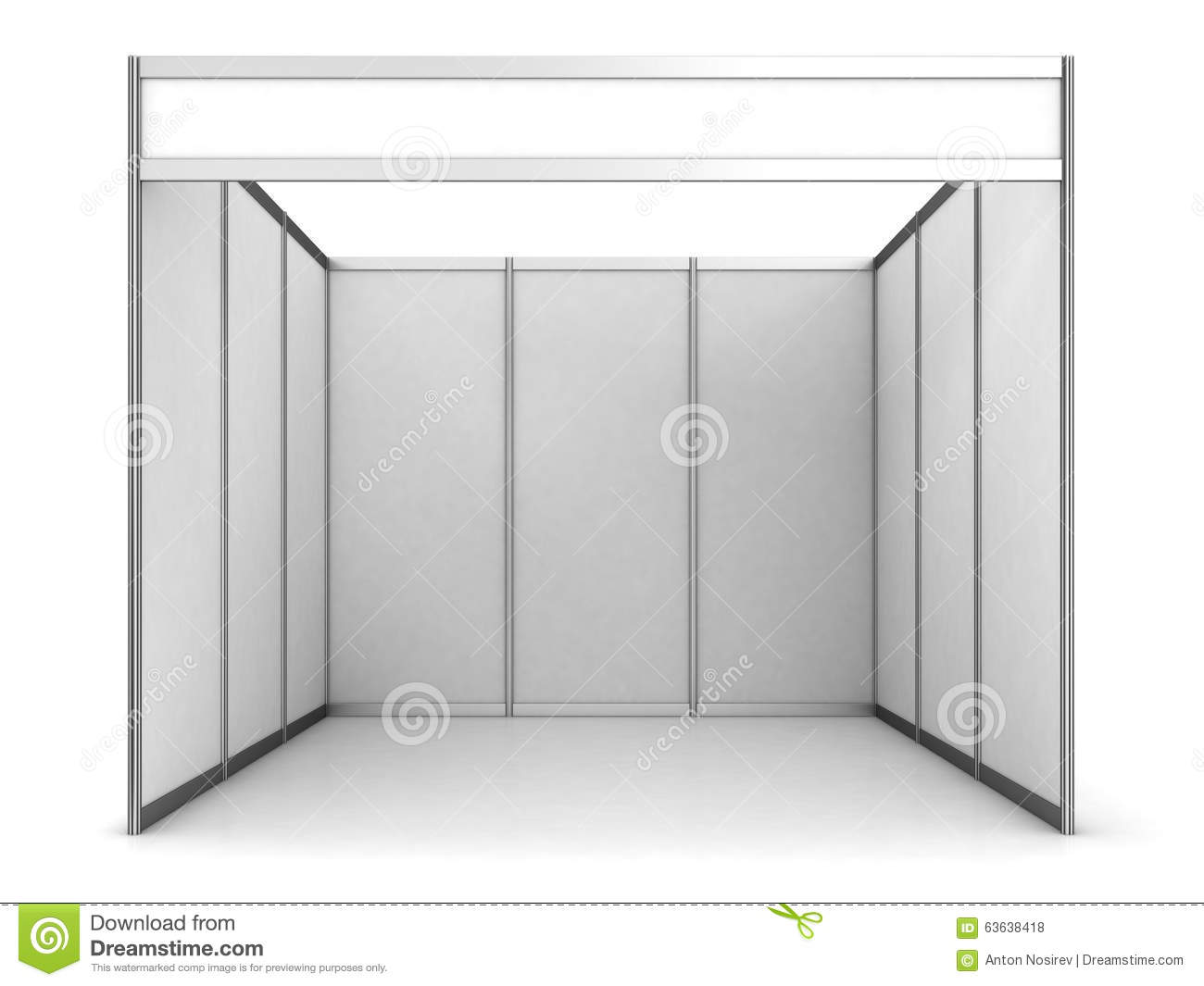 Blank Indoor Exhibition Trade Booth Stock Illustration
