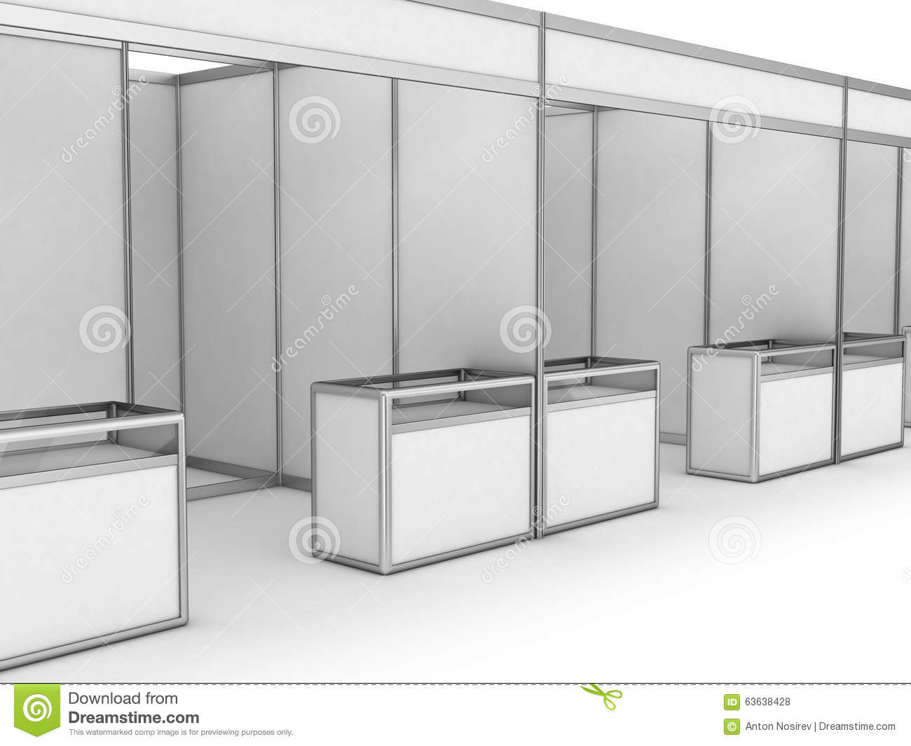 Exhibition Booth Blank : Blank indoor exhibition trade booth stock illustration