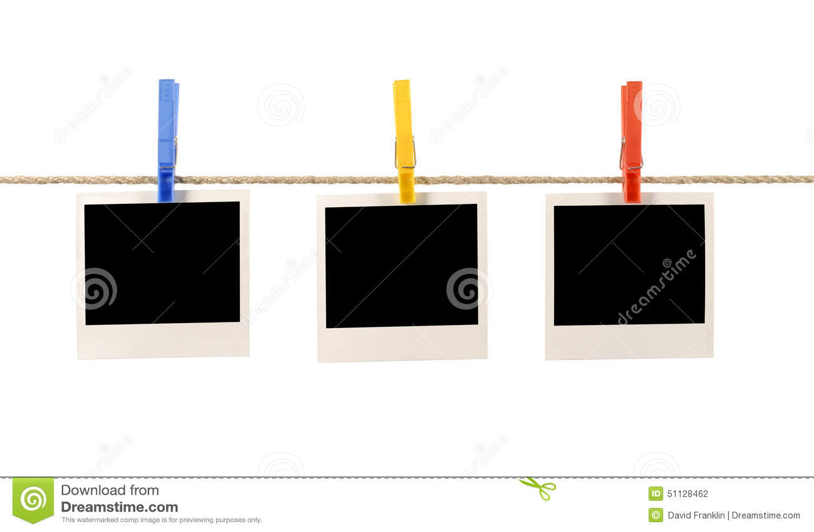 Polaroid Frame Photo Prints Rope String Washing Line Isolated On ...