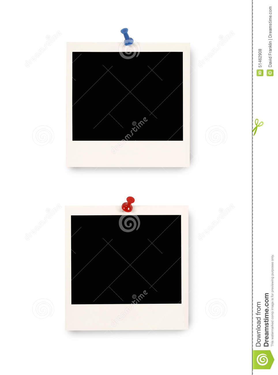 Two Polaroid Frame Photo Prints With Pushpin, Vertical, Isolated ...