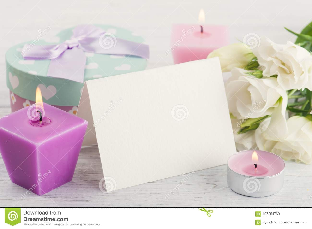 greeting card gift and lit candles stock image image of space