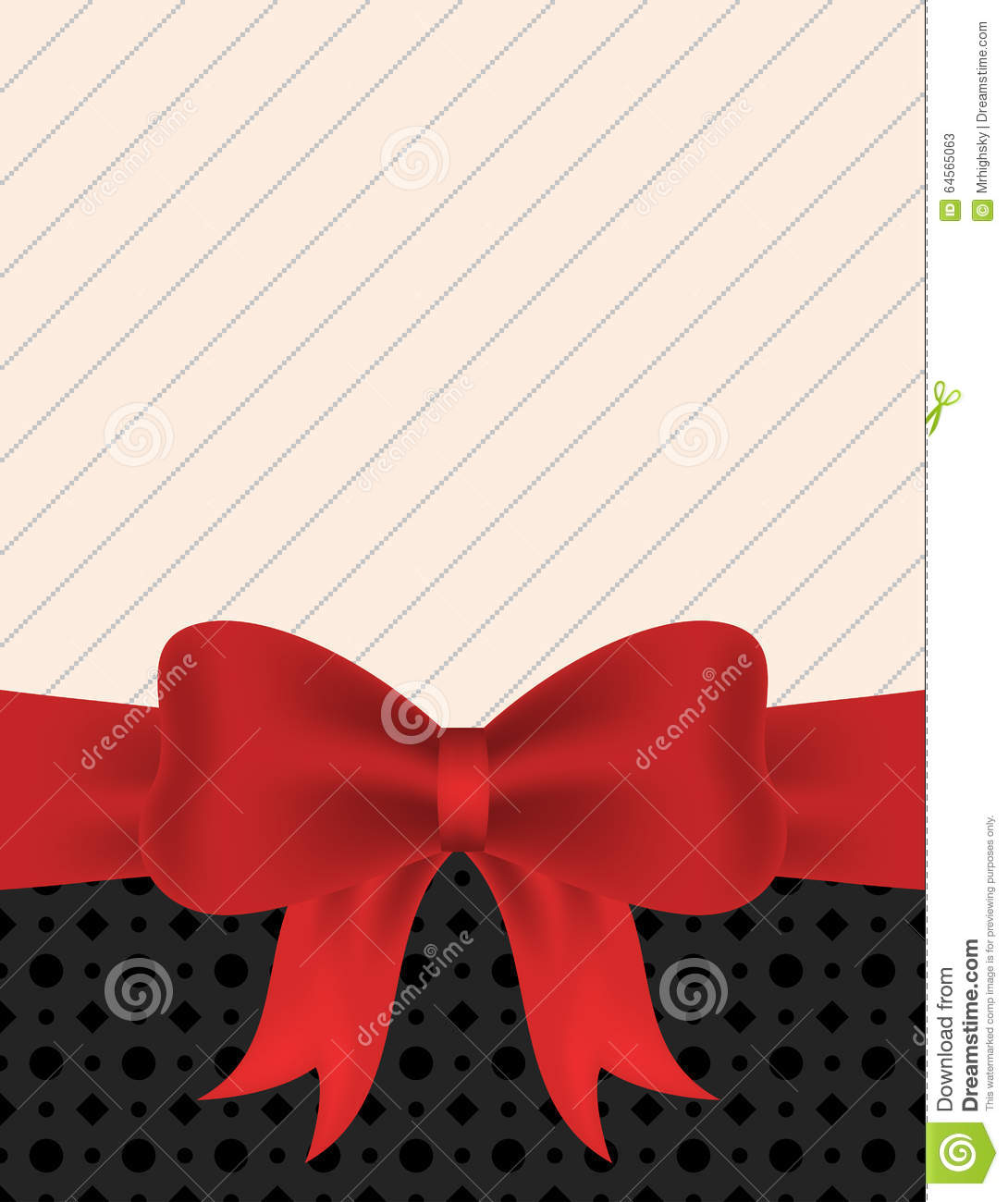 Blank Invitation With Red Ribbon Bow Stock Vector