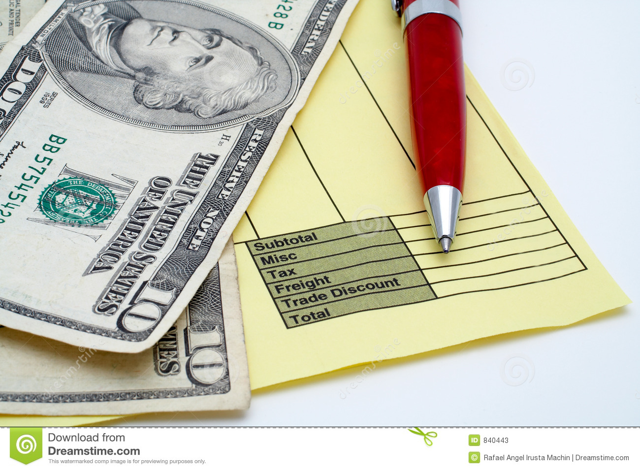 Free Sample Of Invoice Pdf Blank Invoice Stock Photos Images  Pictures   Images Best Invoice Software Mac with Cheesecake Receipt Blank Invoice With Pen And Money Dollars Stock Photos Fillable Receipt Excel