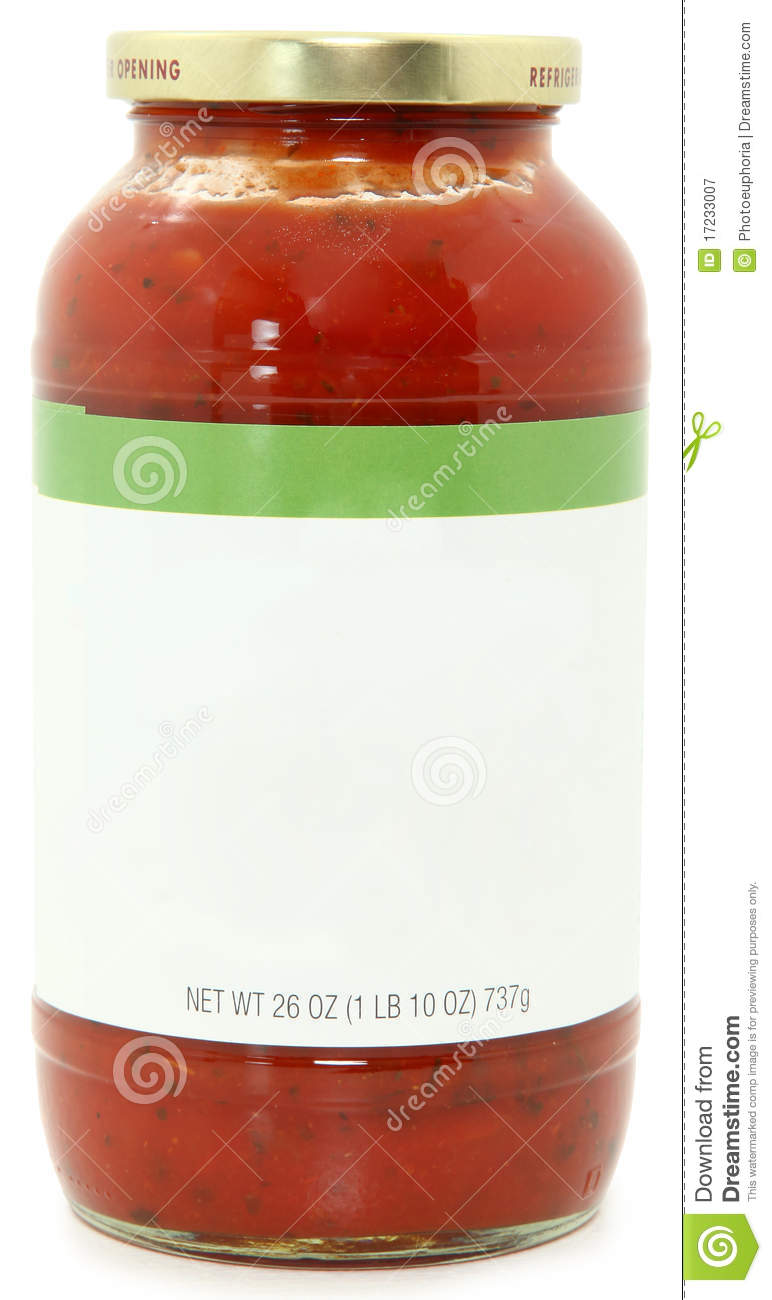 26oz jar of marinara spaghetti sauce with blank label for text over ...