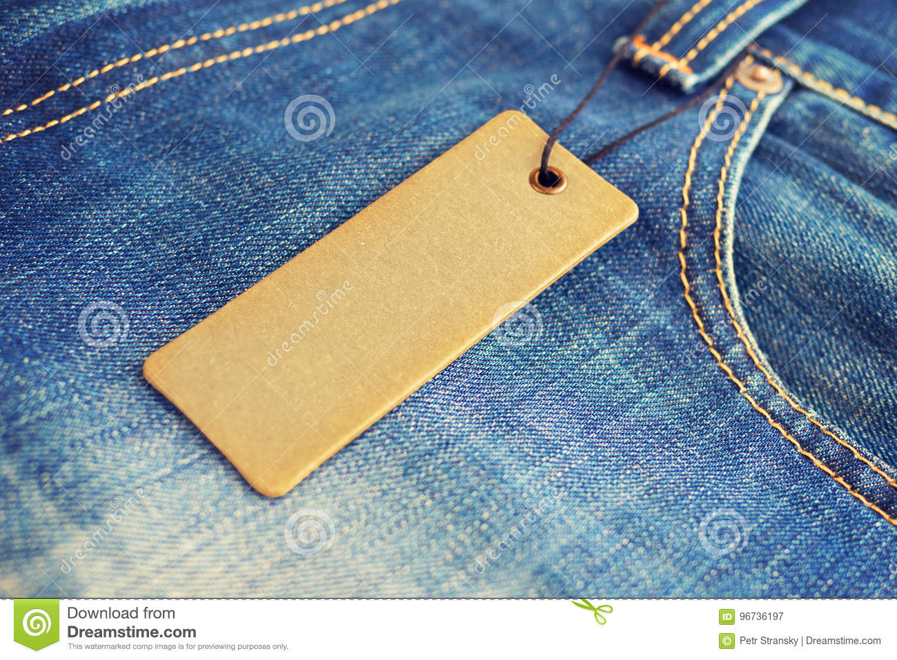 blank label price tag mockup on blue jeans stock image image of