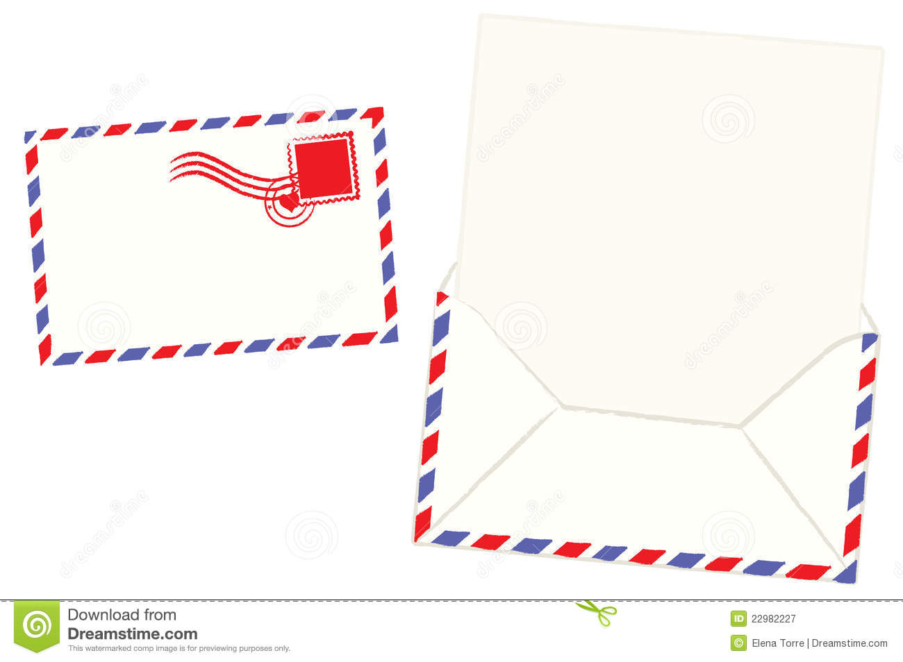 Illustration of blank airmail letter and envelope + vector eps file.