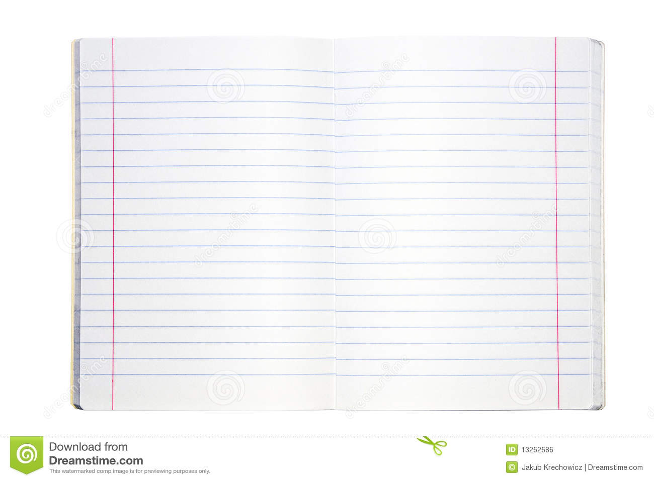 Blank lined exercise book stock photo  Image of paper - 13262686