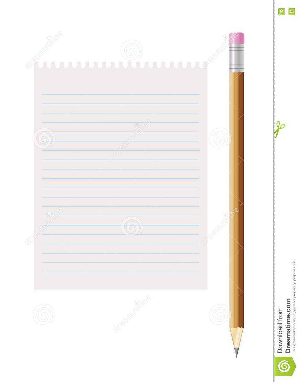 Blank Lined Paper And Pencil With Eraser Stock Illustration