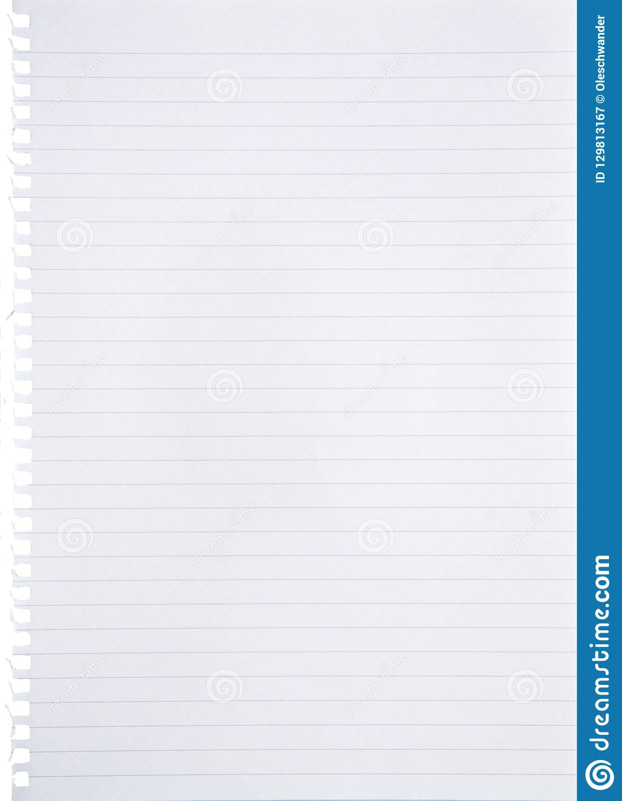 blank lined white paper sheet torn out from notebook background with