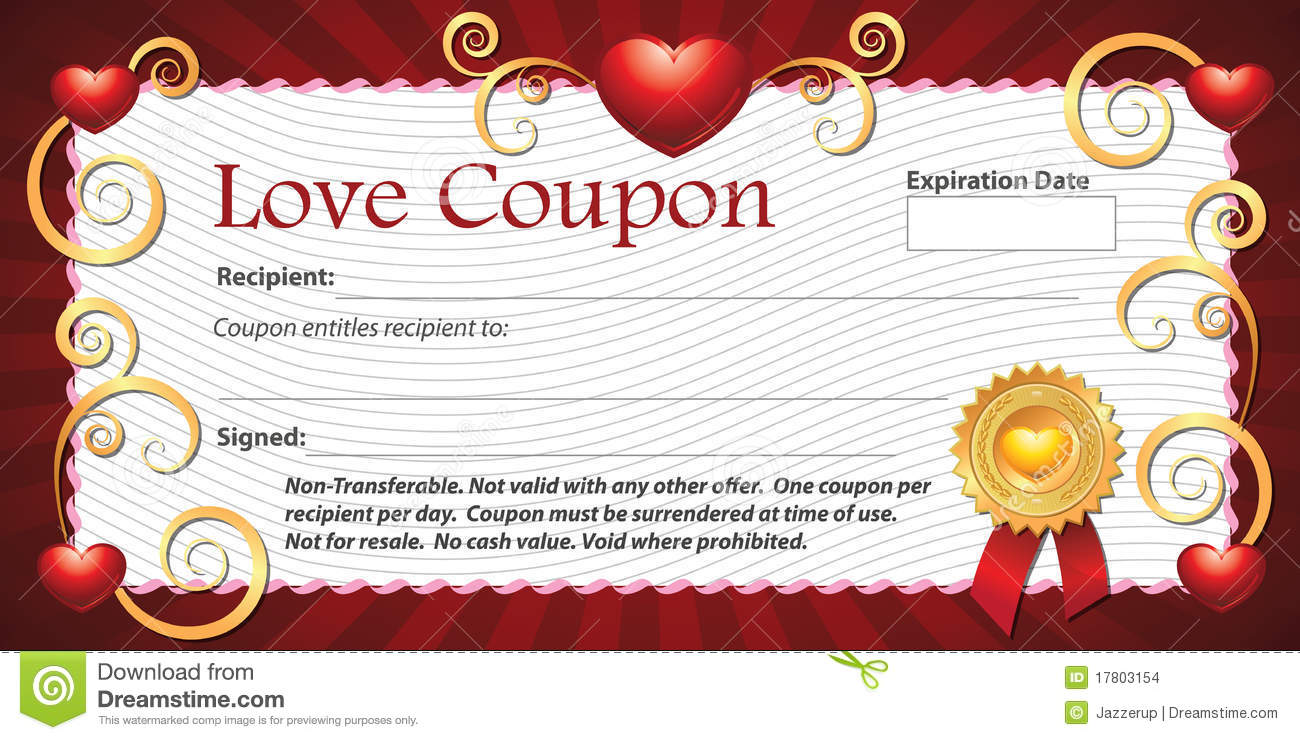 Blank love coupon stock illustration illustration of for Love coupon template for word