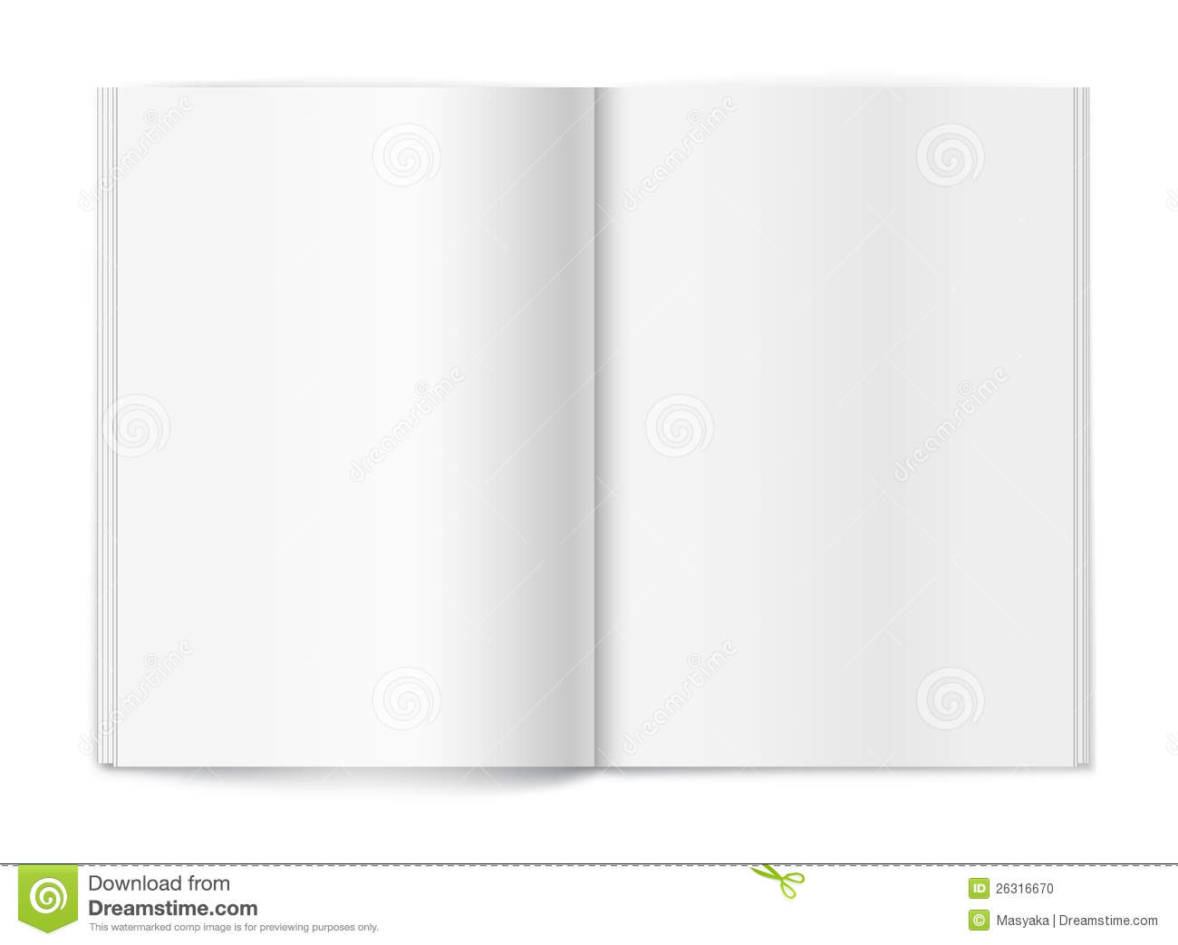 Blank Magazine On White Background. Template  Blank Program Template