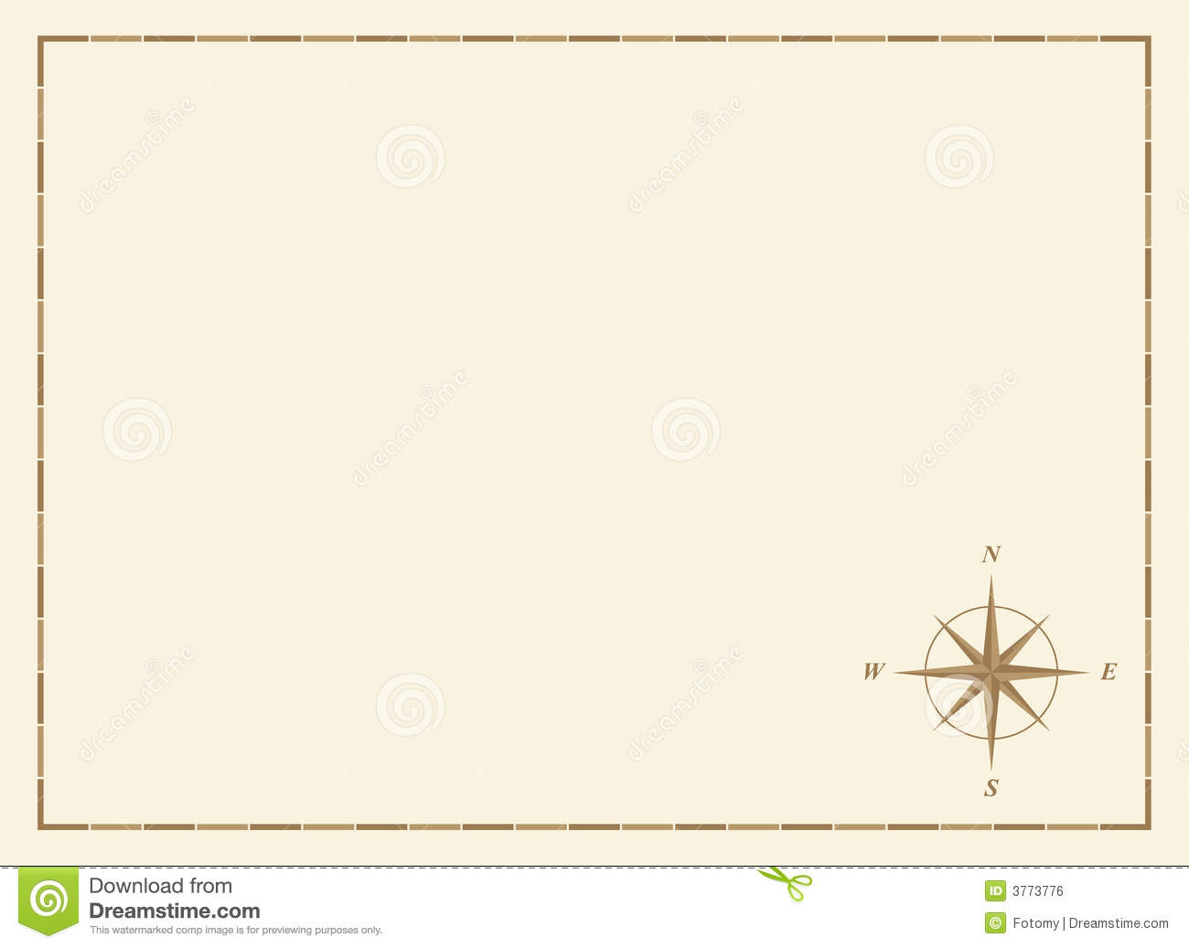 Blank Map With Compass Rose Royalty Free Stock Image
