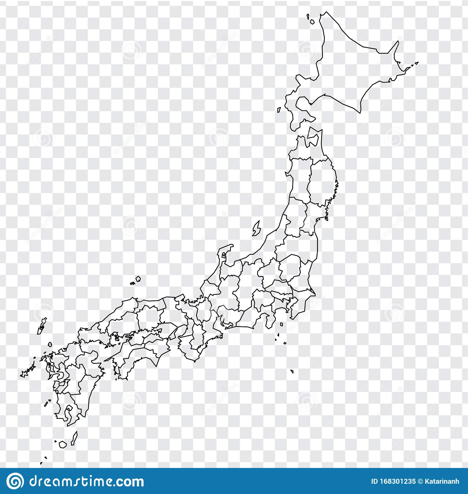 Picture of: Blank Map Of Japan High Quality Map Of Japan With Provinces On Transparent Background For Your Web Site Design Logo App Ui As Stock Vector Illustration Of Icon Border 168301235