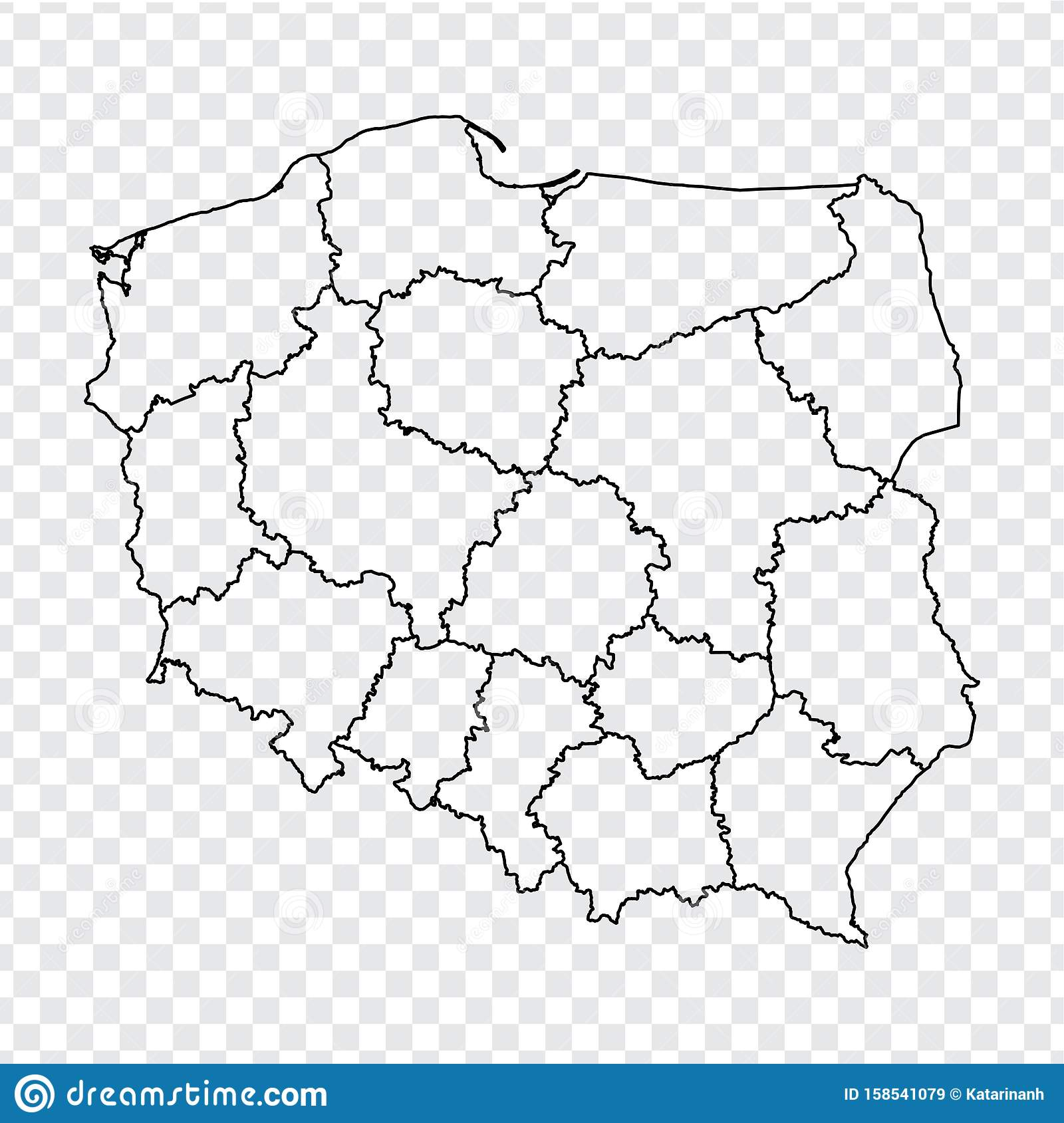 Picture of: Blank Map Republic Of Poland High Quality Map Of Poland With Provinces On Transparent Background For Your Web Site Design Logo Stock Vector Illustration Of Concept Flat 158541079
