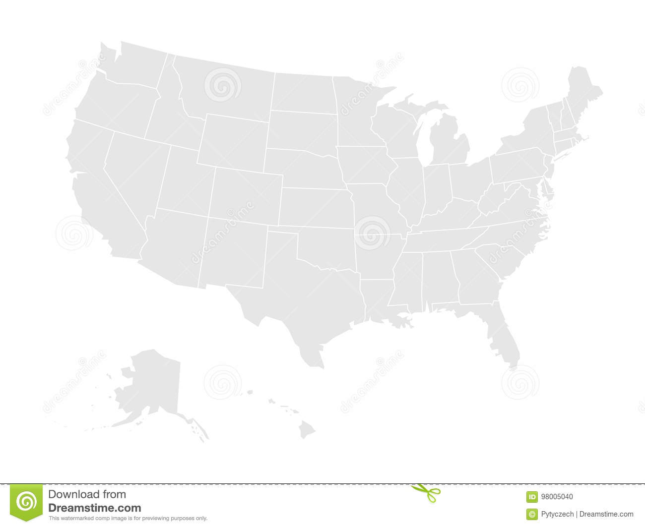 Blank Map Of United States Of America. Vector Illustration ...