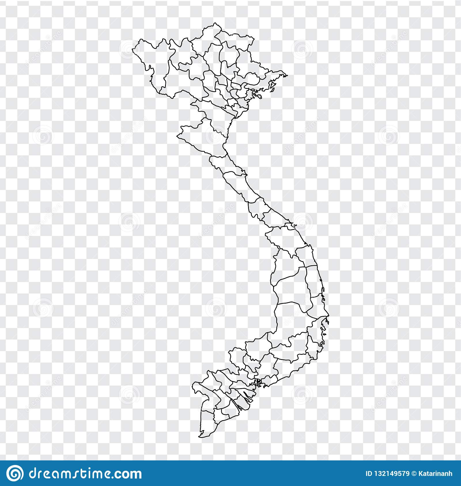 Blank Map Vietnam High Quality Map Vietnam With Provinces On Transparent Background For Your Web Site Design Logo App Ui Stock Vector Illustration Of Blank Contour 132149579
