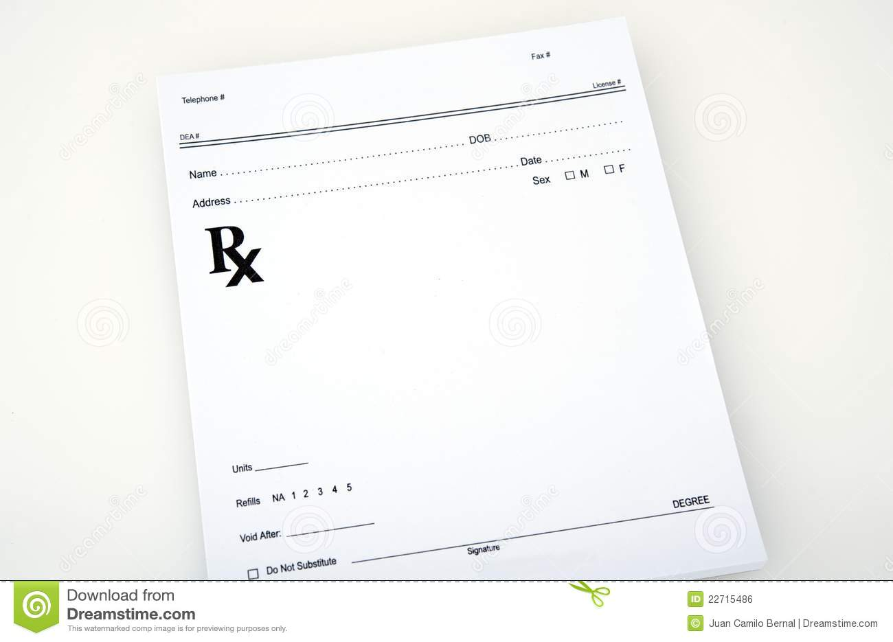 Blank medical prescription stock photo. Image of ...