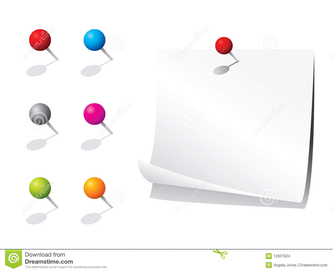 blank memo paper and pins stock images image 12837824 blank memo paper and pins