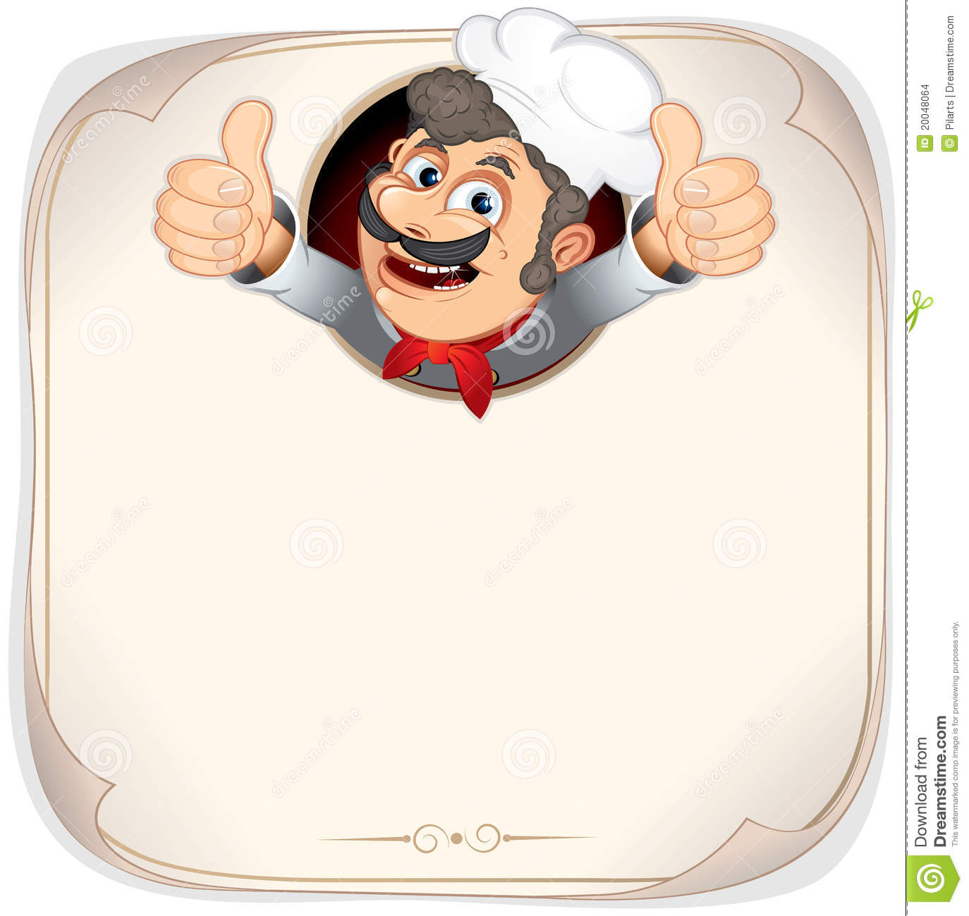 Chef cook showing thumb up blank vector menu template