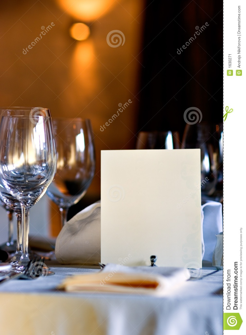 Blank menu on restaurant table stock image image 1630271 for Table table restaurant menu
