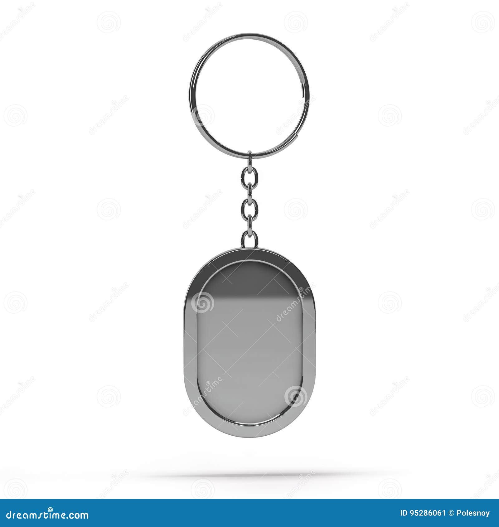 Blank Metal Keychain  Mockup Stock Illustration - Illustration of