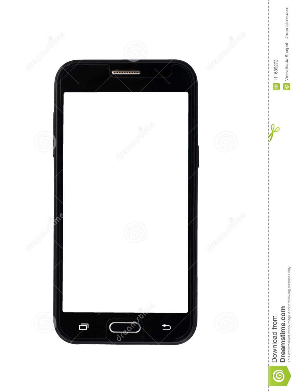 Blank mobile smart phone isolated on white background with clipping path