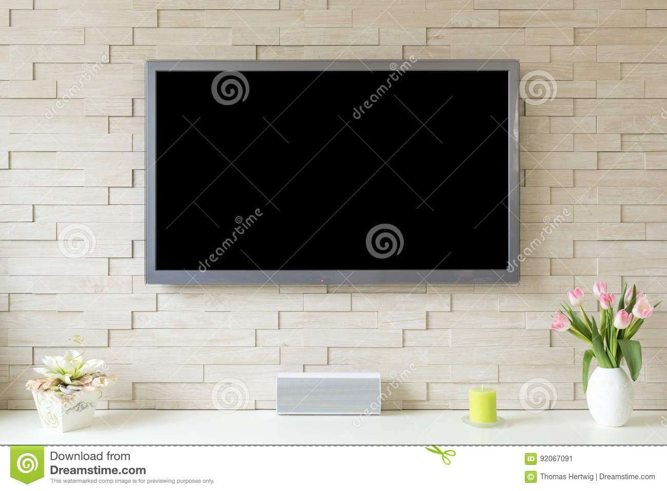 Blank Modern Flat Screen Tv At The White Brick Wall With Copy Space Stock Image Image Of Wall Television 92067091