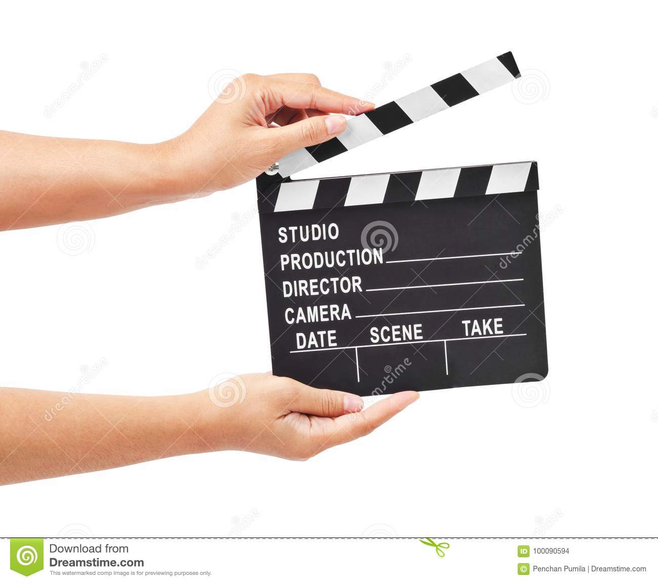 Blank movie production clapper board or slate film in hand.