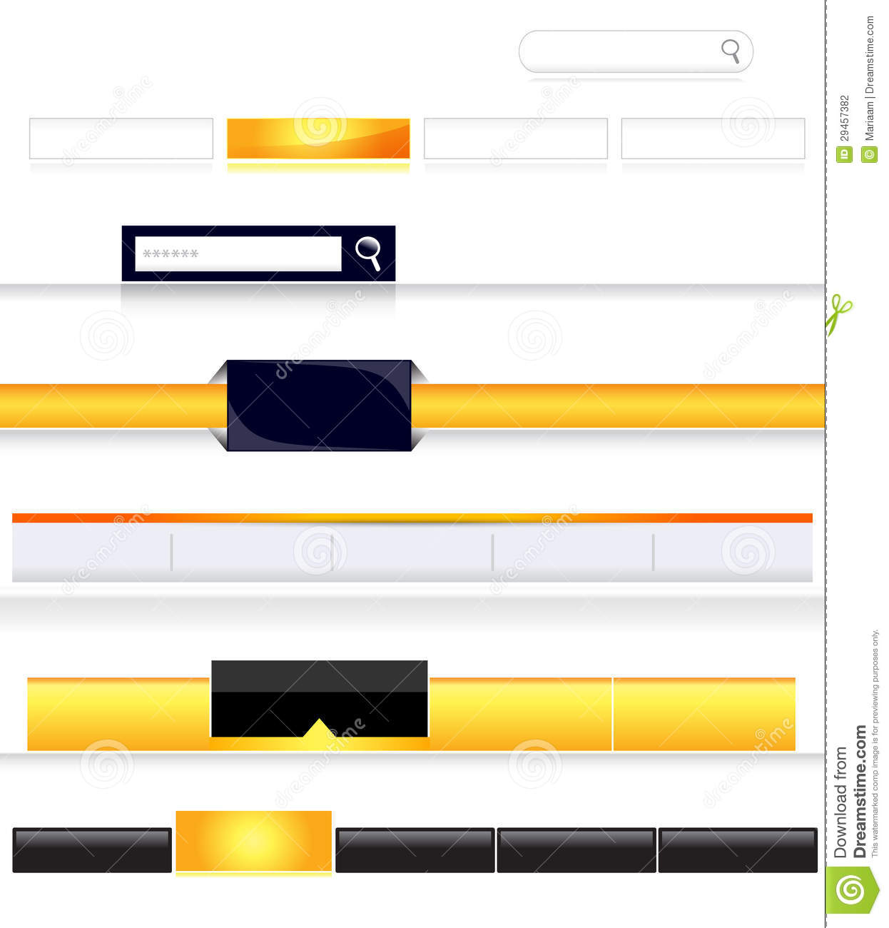 and blank navigation bars with rollover effect for website templates