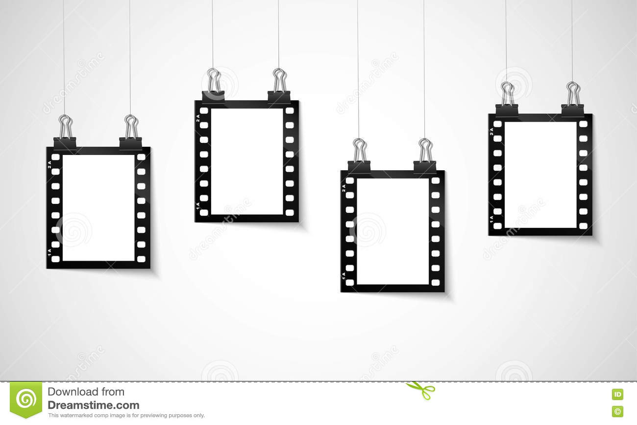 Blank negative film hanging on a line stock vector - Clipart cinema gratuit ...