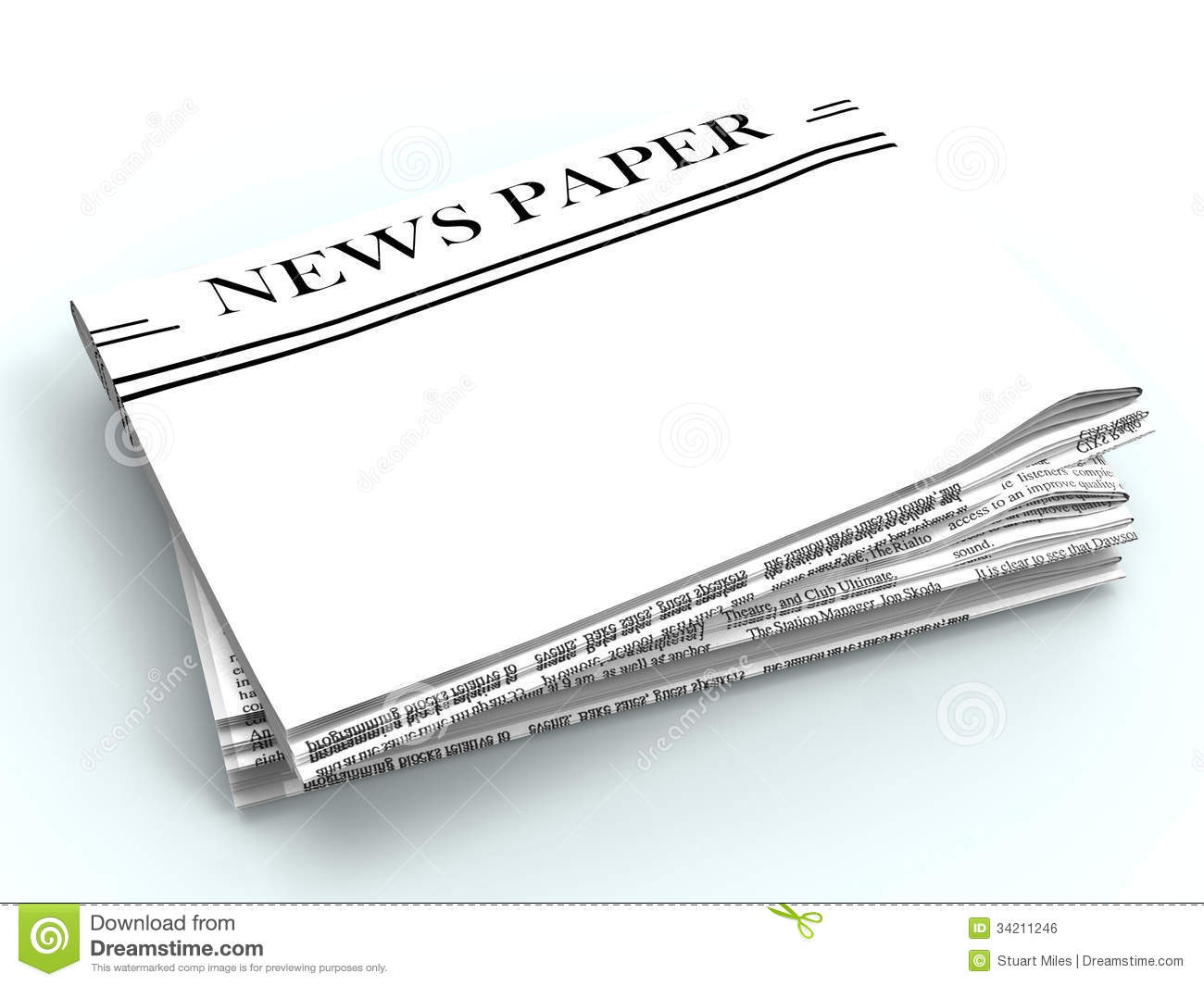 blank newspaper with copyspace shows news stock illustration
