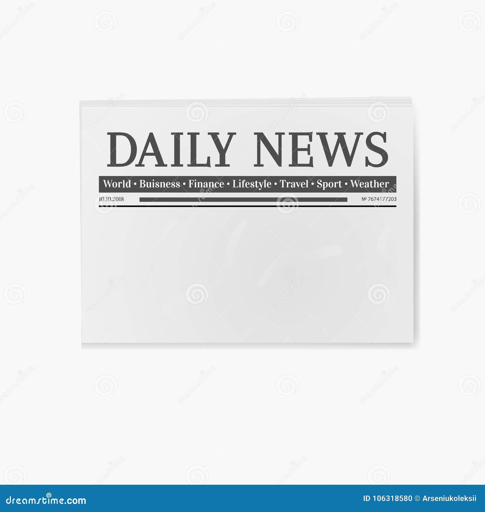 Blank Newspaper Illustration Stock Vector Illustration Of