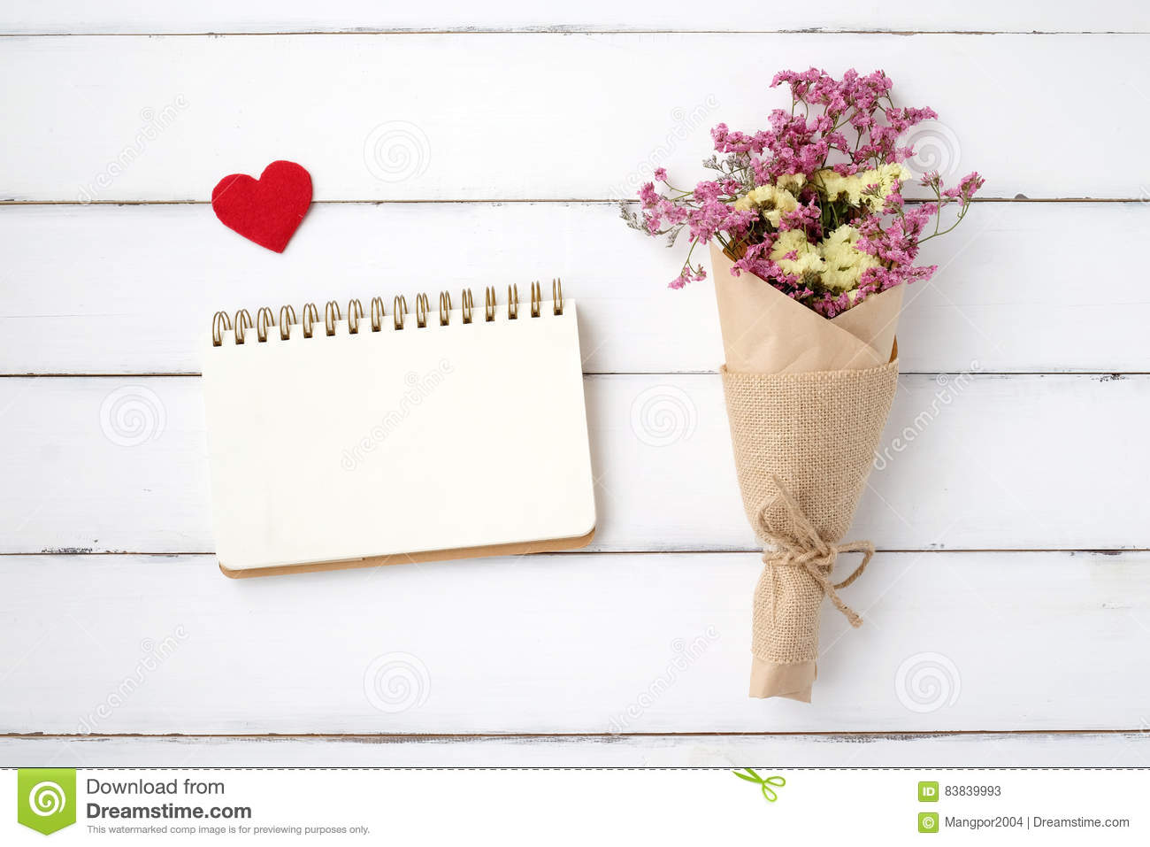 Blank Note Book Paper Fabric Heart Shape And Flower Bouquet On