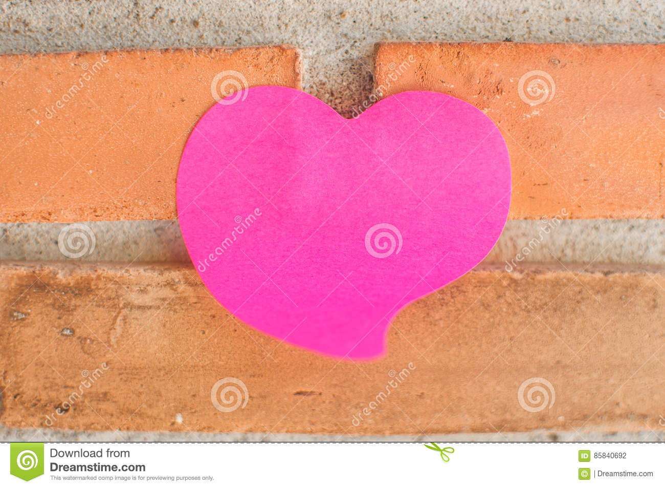 Blank Note Pad Or Sticky Notes Pink On Brick Wall Background