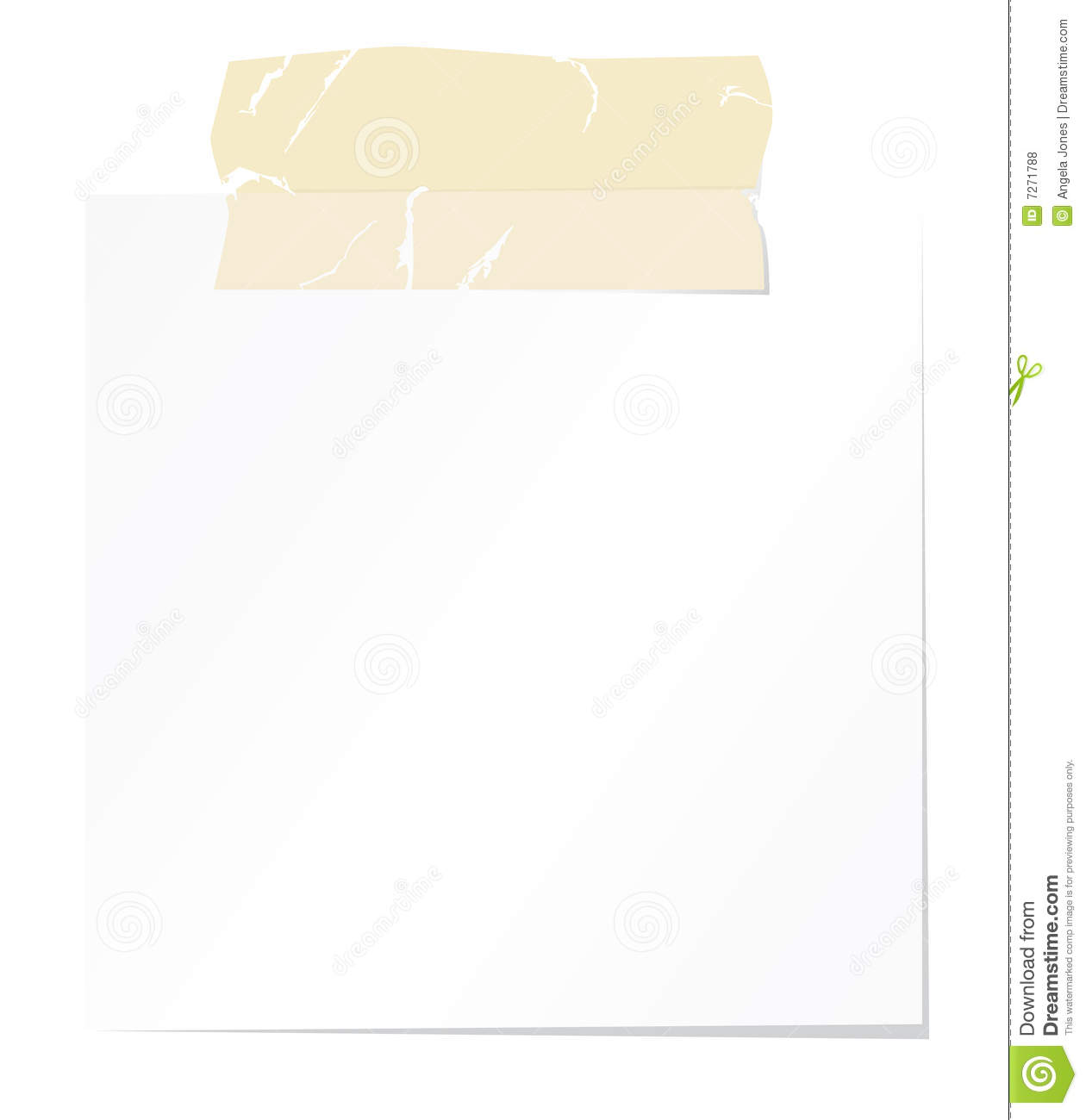 blank note paper and sellotape stock vector