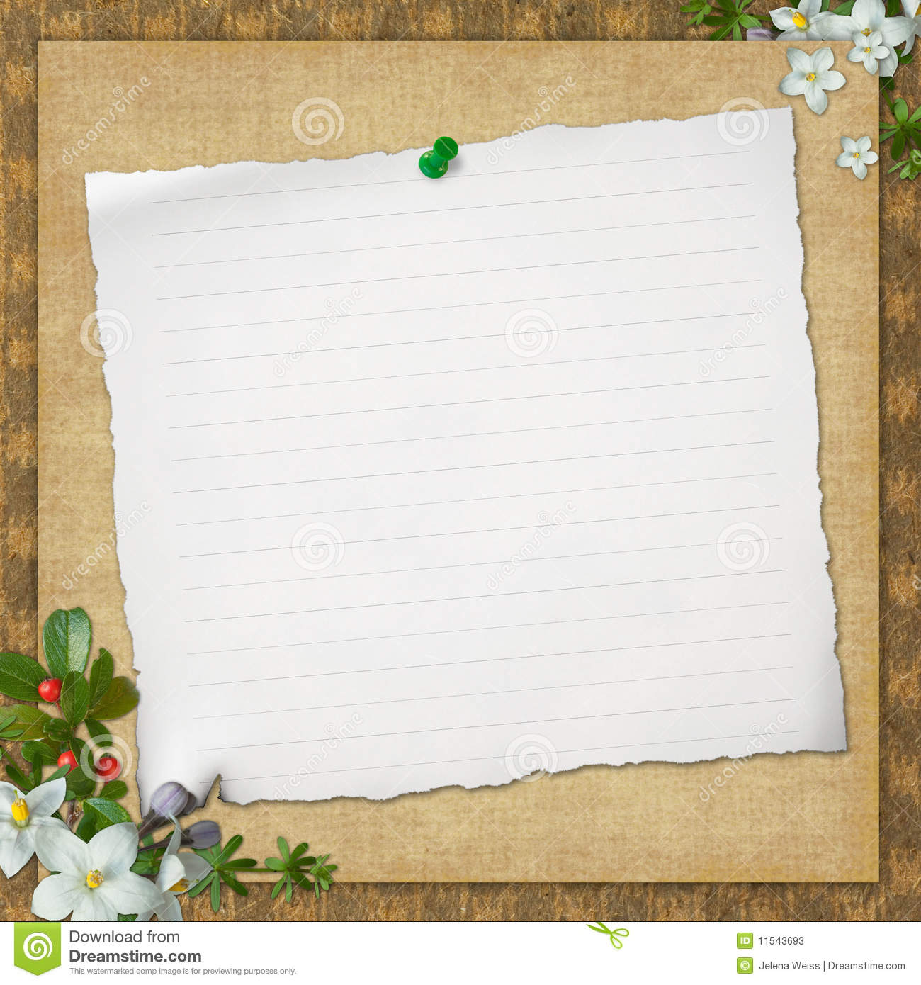 Scrapbook paper note - Blank Note Paper On Textured Background