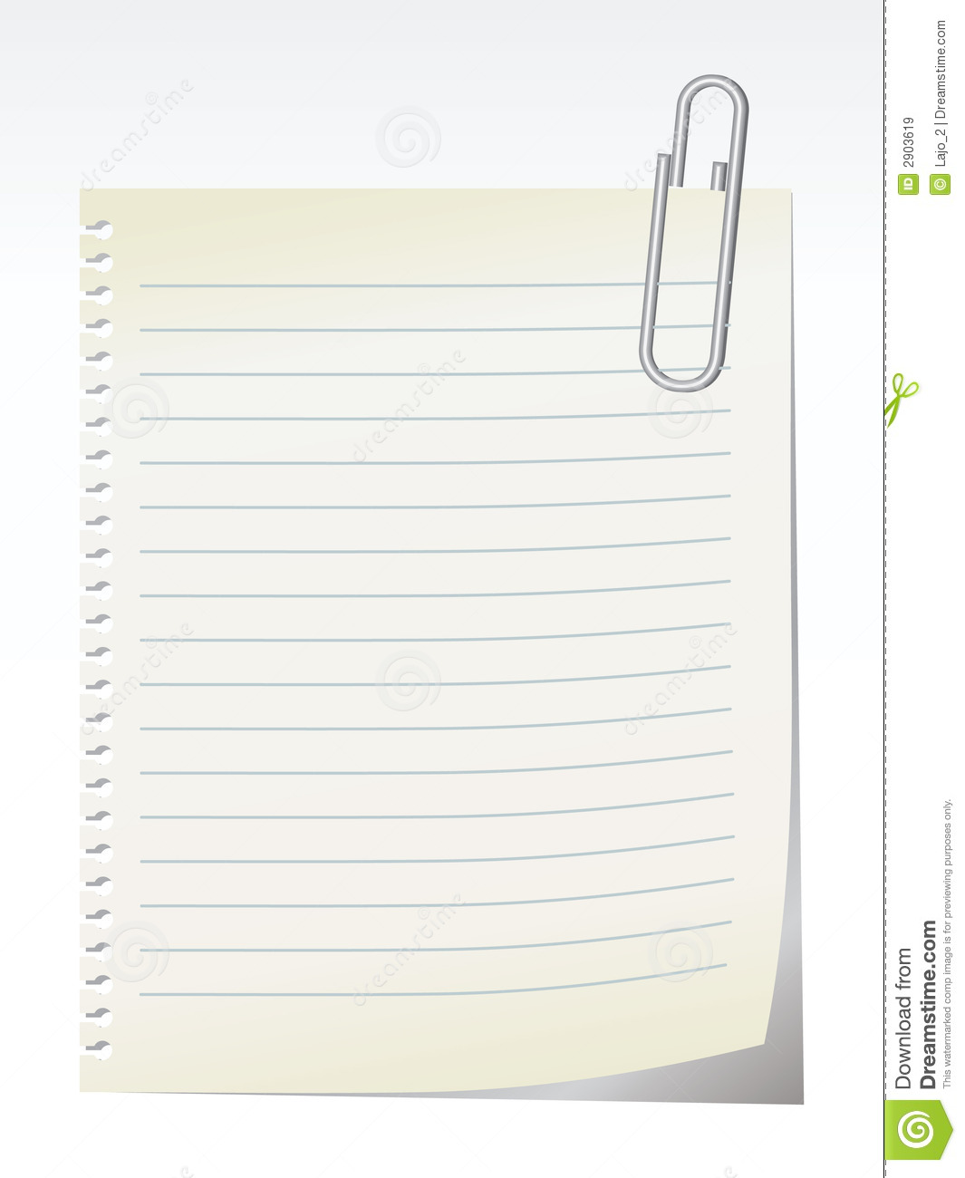 Lined blank note breaked away from the notebook - vector.