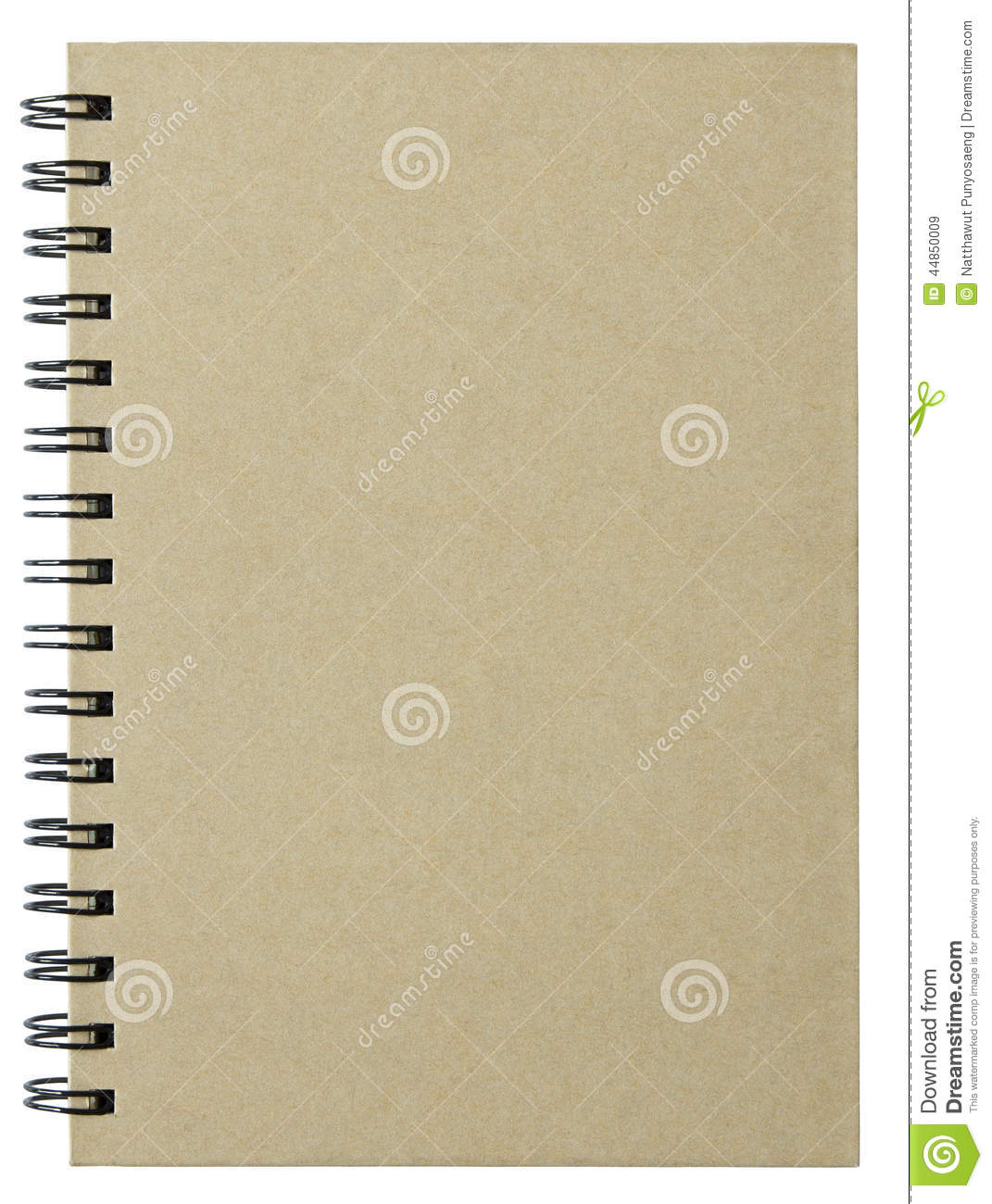 Notebook Cover Background : Blank notebook cover isolated on white stock photo image