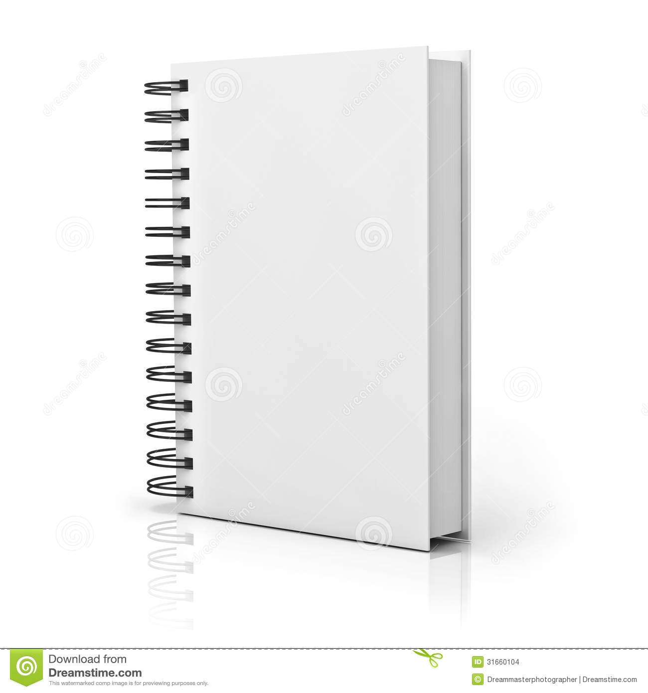 Blank Notebook Cover Over White Background Stock Images