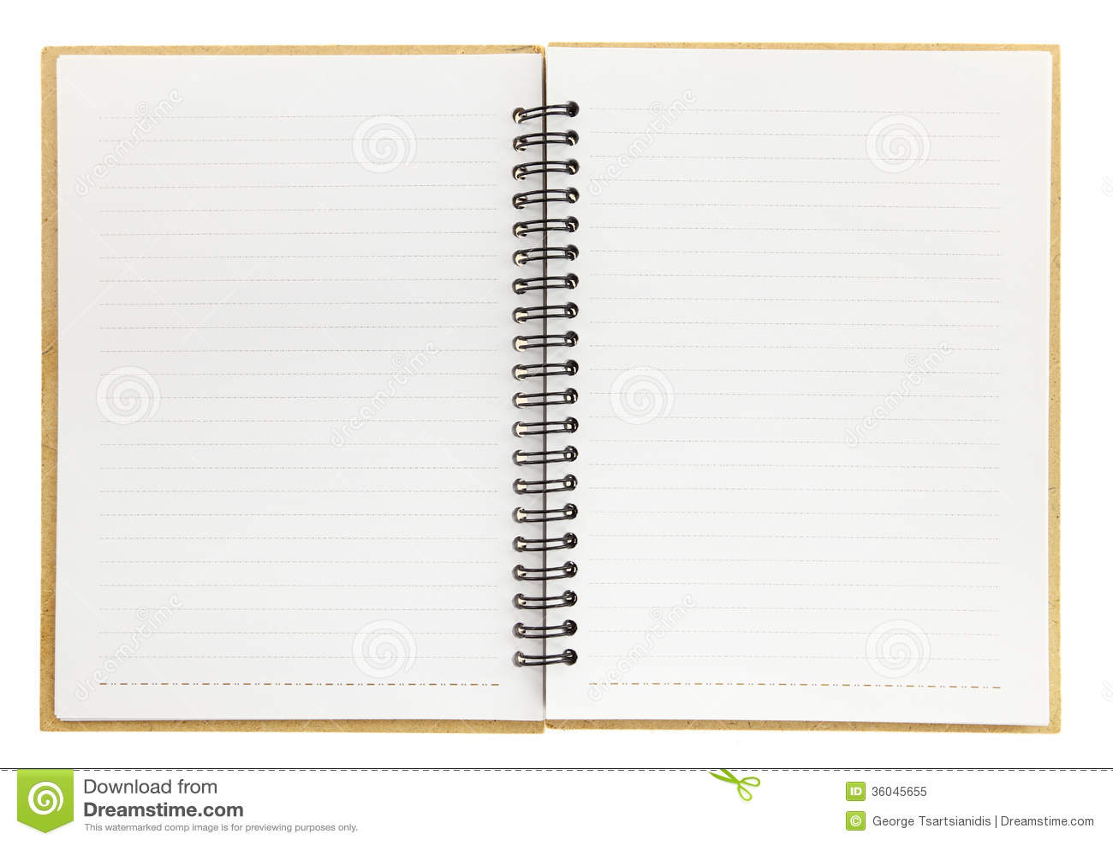 Open Spiral Notebook An open blank notebook with