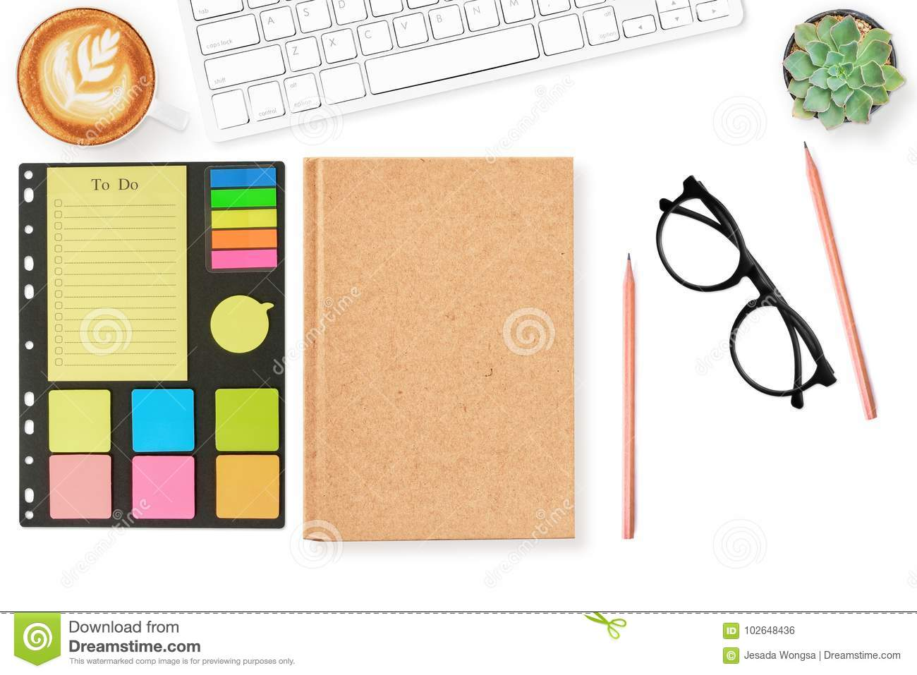 Blank notebook cover page todo list on modern white office desk table with supplies for mockup. Top view, flat lay