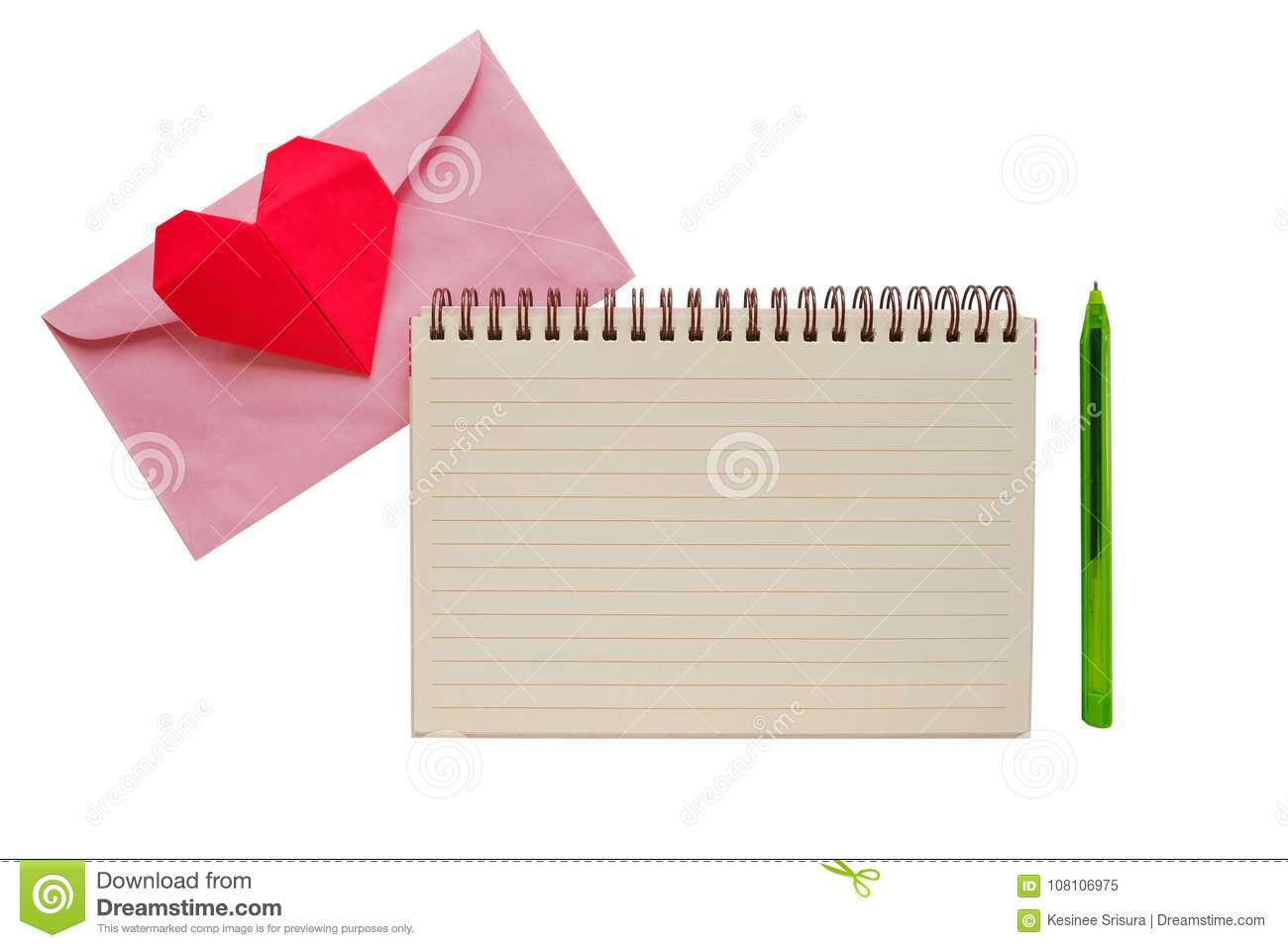 Blank Notebook With Pink Envelope And Red Heart Paper Origami Stock