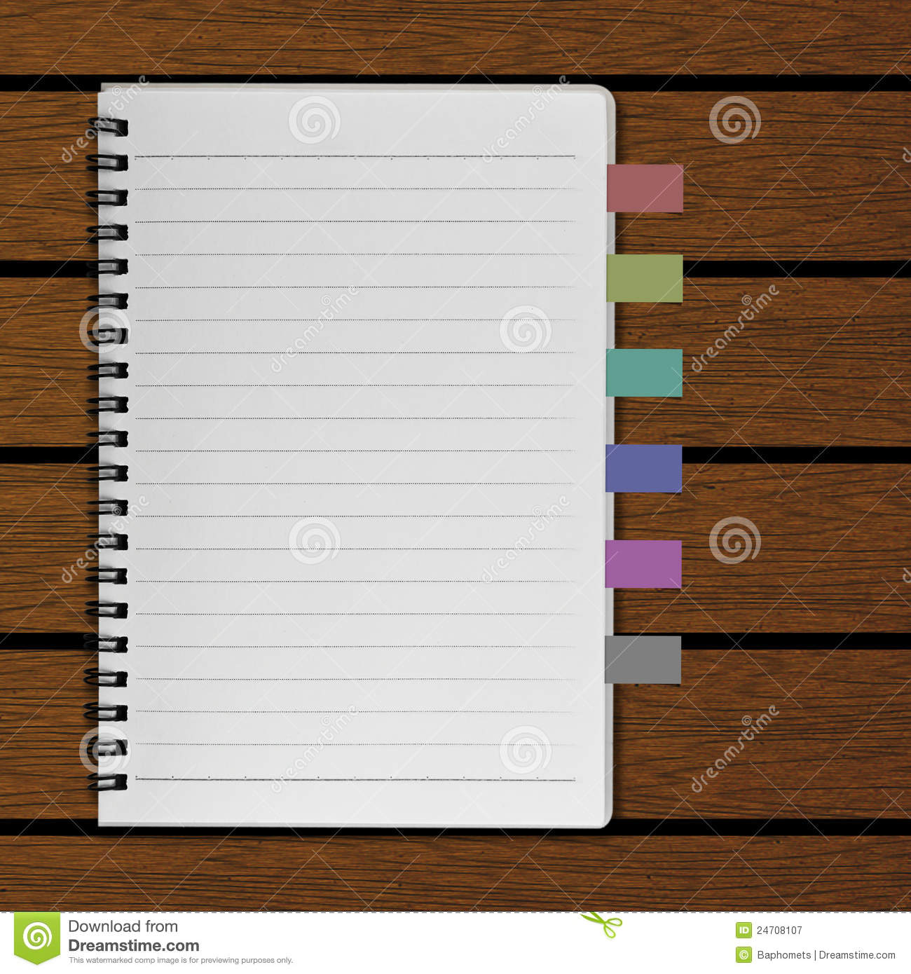 Blank Notebook And Reminder On Old Wood Background Royalty