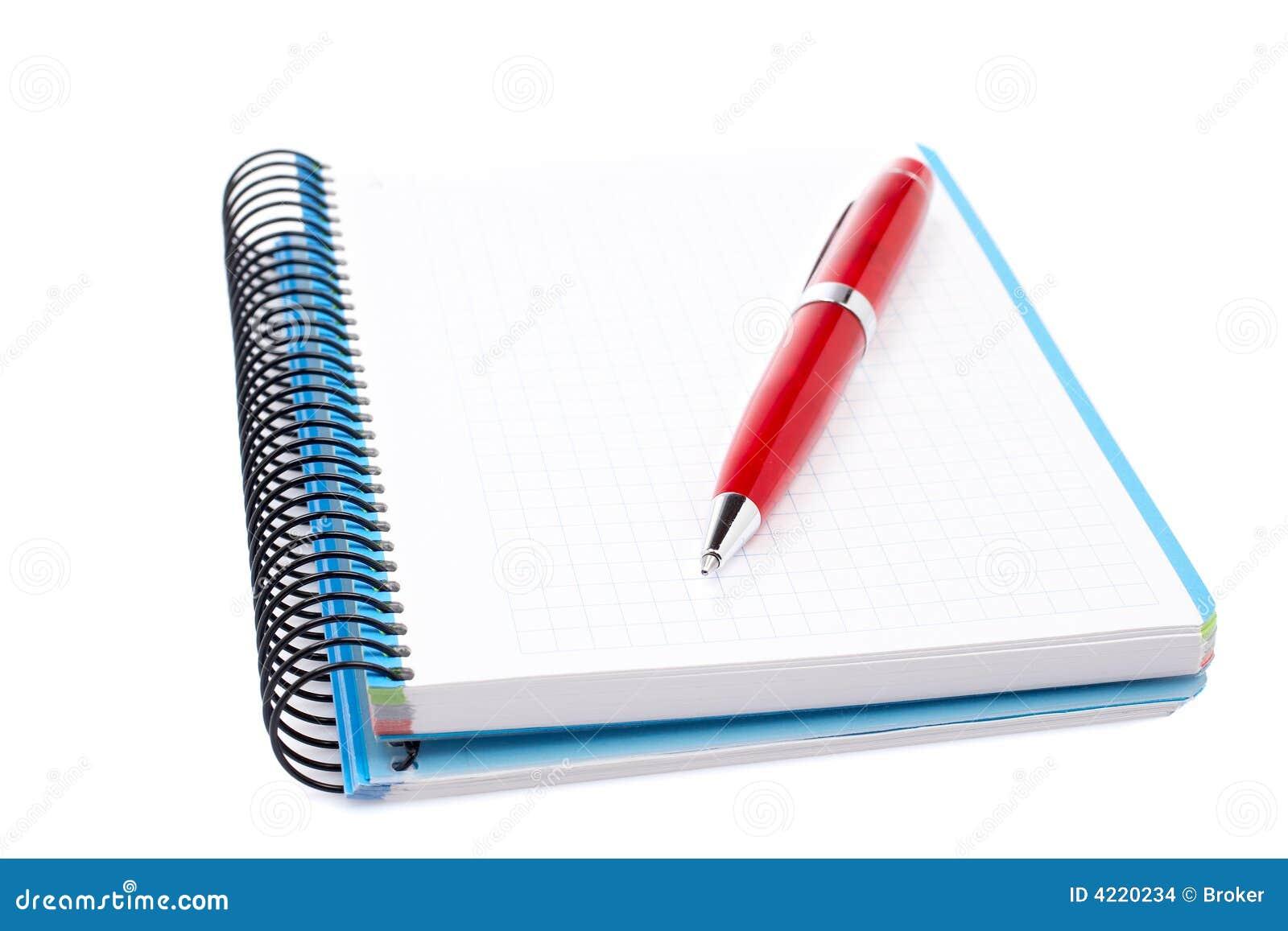 Blank notebook sheet with pen