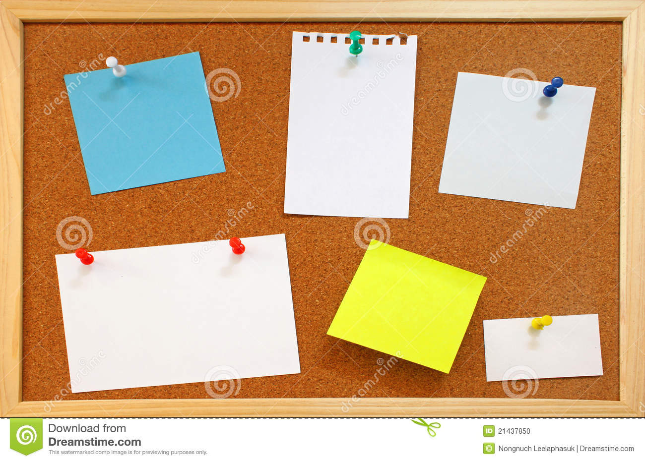 Blank notes with push pins on cork board stock photo for Cork board pin display