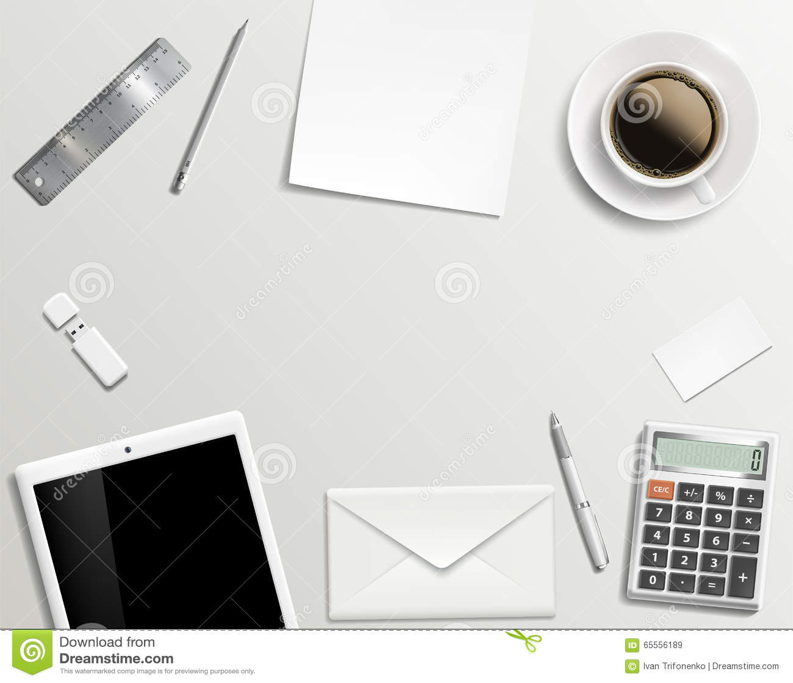 Office Desk Wallpaper: Blank Office Desk Background. Stock Photo