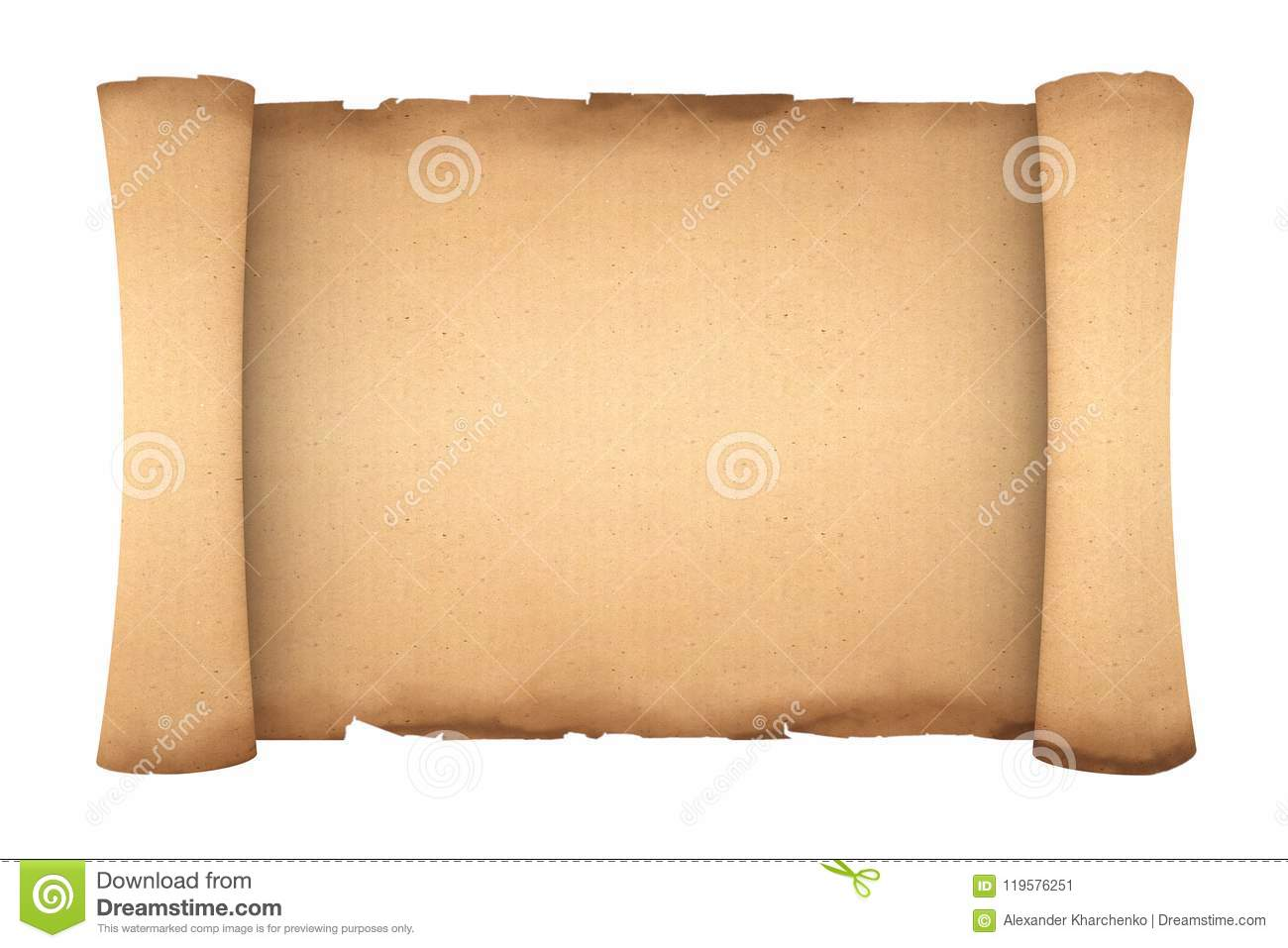 Blank Old Paper Scroll Parchment Mockup  3d Rendering Stock