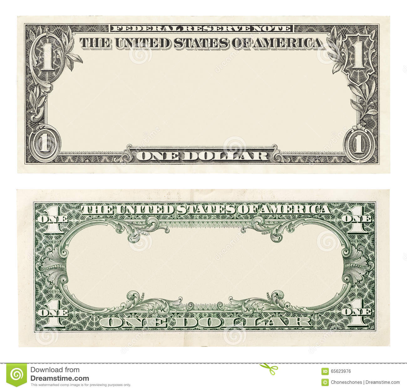 Blank One Dollar Bill Stock Photo Image Of Currency 65623976