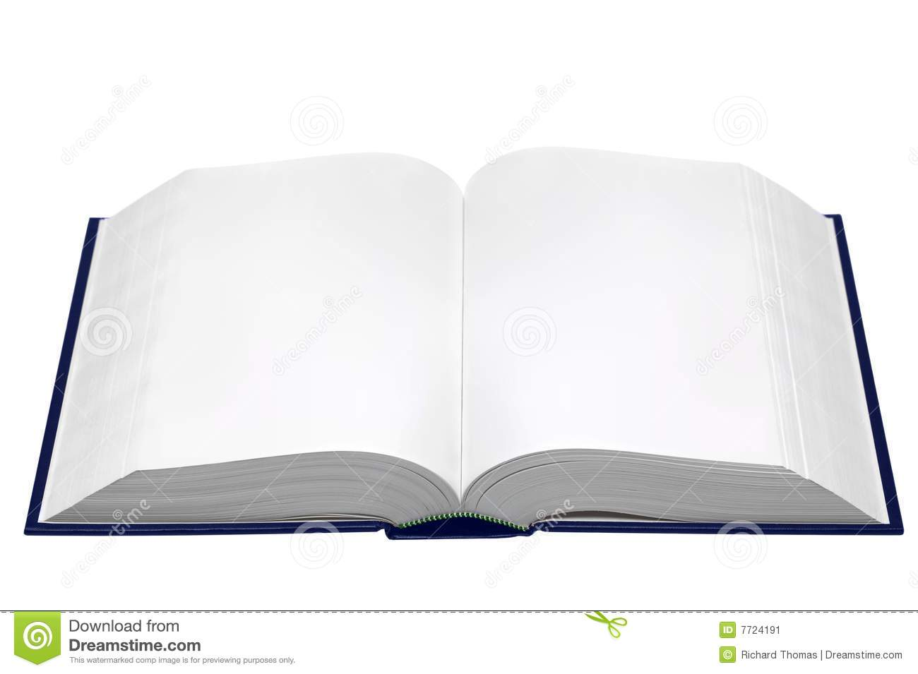 hardback book opened with blank pages isolated on a white background ...